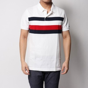 【SALE 50%OFF】トミーヒルフィガー TOMMY HILFIGER Tommyストライプスリムフィットポロ (ホワイト)