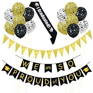 (We Are So Proud of You) - We Are So Proud of You Banner, Gold Black White Graduation Latex Balloons for Graduations Party Supplies One Graduated Sash Included (WE are SO PROUD of YOU)