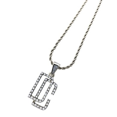 EXO Jewel Iced Out DCシルバー真鍮ペンダントネックレス24cmロープチェーン