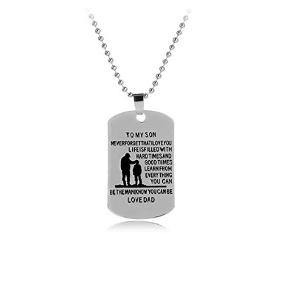 xwanli Inspirational MilitaryビーズチェーンネックレスEngraved Never Forget That I Love You犬タグペンダント
