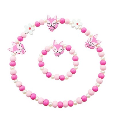 soulmatestoryキッズネックレスブレスレットジュエリーセットBeaded FriendshipネックレスFoxカラフル木製Necklaces for Kids Girls幼児用パーティークリ...