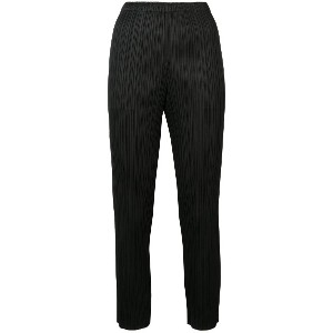 Pleats Please By Issey Miyake cropped pleat trousers - ブラック