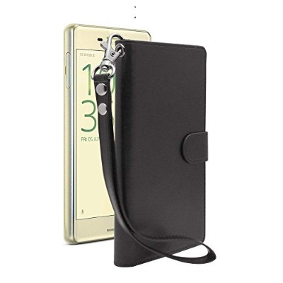 iNTAG Xperia X Performance ケース 手帳型 レザー ストラップ 付き ヴィンテージ Vintage Leather Strap Diary Case (手帳 カバー...