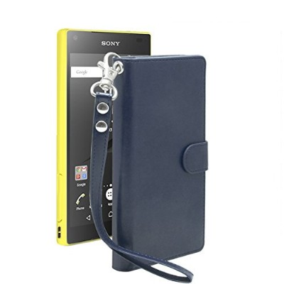 iNTAG Xperia z5 Compact ケース 手帳型 レザー ストラップ 付き ヴィンテージ Vintage Leather Strap Diary Case (手帳 カバー カード収納...