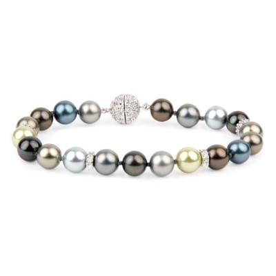 Willow Pearles 8mmマルチTahitian Voyageur Pearleブレスレットwith Cubic Zirconium Rondelles
