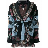 Alanui embroidered belted cardigan - ブラック