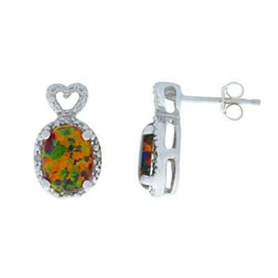 8x6mm Simulated Black Opal & Diamond Oval Heart Stud Earrings .925 Sterling Silver Rhodium Finish