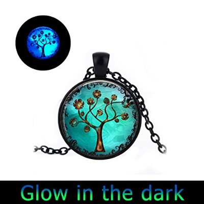 glowlala @ Glowing銅ツリーロケットネックレスWhimsical Fantasy Tree of LifeアーティザンGlowingロケットジュエリーギフト彼女のために