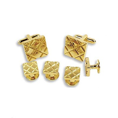 ゴールド正方形対角線Checkerboard Cufflinks and Studs