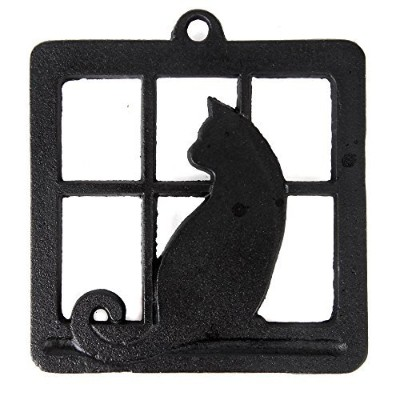 Home-X Cast Iron Trivet, Square Trivet with Single Cat in Window