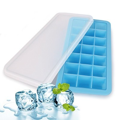 (Tray Blue) - Silicone Ice Cube Trays with Lids - Covered Ice Cube Tray Set with 21 Ice Cubes...