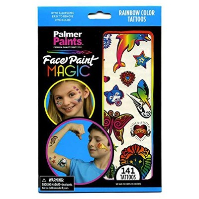 141 Rainbow Colour Tattoos for Children - 6 Sheets