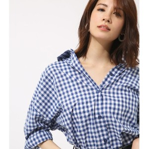 【SALE 70%OFF】【AZUL BY MOUSSY】ギンガムシャツ 柄BLU