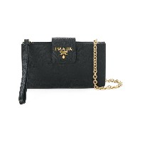 Prada flat wallet on chain - ブラック