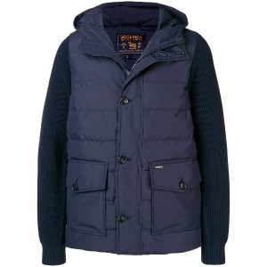 Woolrich knit sleeve padded jacket - ブルー