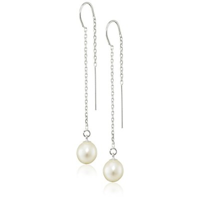 Bella Pearl Dangling Threaded Silver Drop Earrings