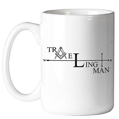 Traveling Man 11オンスコーヒーマグby the Masonic Exchange