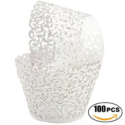 (White) - SUYEPER 100pcs Cupcake Wrappers Artistic Bake Cake Paper Cups Little Vine Lace Laser Cut...
