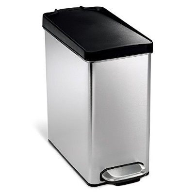 simplehuman Profile Step Trash Can, Stainless Steel, Plastic Lid, 10 L / 2.6 Gal by simplehuman [並行輸入品]