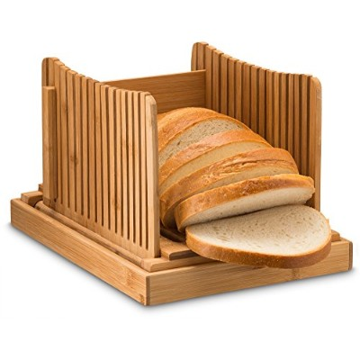 Bamboo Foldable Bread Slicer with Crumb Catcher Tray for Cutting Even Slices Every Time, Wooden...