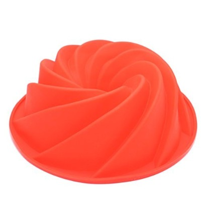 Silicone Fluted Bundt Pan Cake Mould,BPA Free, Non-Stick European-Grade Silicone,Red