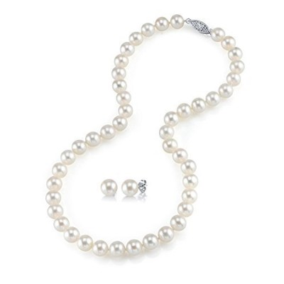 The Pearl Source レディーズ 淡水養殖真珠ネックレス&イヤリングセット 白金 7.0-8.0mm