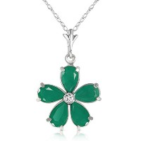 "K14 White Gold 18"" Necklace with Emeralds and Diamond Flower Pendant"