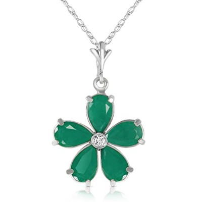 """K14 White Gold 18"""" Necklace with Emeralds and Diamond Flower Pendant"""