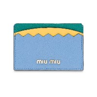 Miu Miu Madras colourblock card holder - ブルー