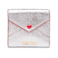 Miu Miu Madras love envelope card holder - メタリック