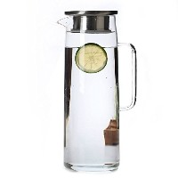 (Stainless Steel Infuser Lid) - Cupwind Borosilicate Glass Water Carafe Pitcher with Stainless...