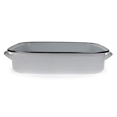 Golden Rabbit Enamelware White Lasagna Baking Pan with Glass Lid 9.9l