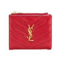 Saint Laurent quilted logo wallet - レッド