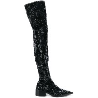 Mm6 Maison Margiela sequin over the knee boots - ブラック