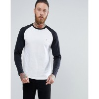 ファーラー トップス Farah Zemlack Slim Fit Raglan Long Sleeve Top in Black