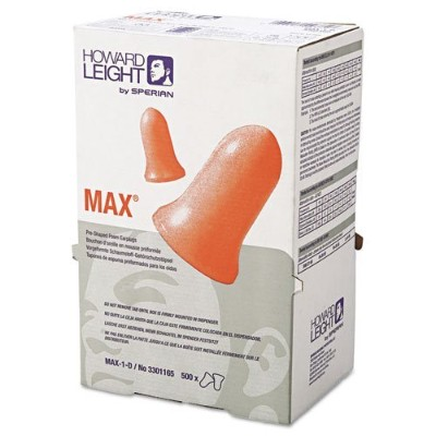 Howard Leight by Honeywell MAX-1-D Single-Use Earplugs, Cordless, 33NRR, Coral, LS 500 Refill -...
