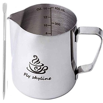 Milk Frothing Pitcherステンレススチール測定の内側をFrothing Cup with Lattアートペン 14 Ounces シルバー MILK PITCHER -001