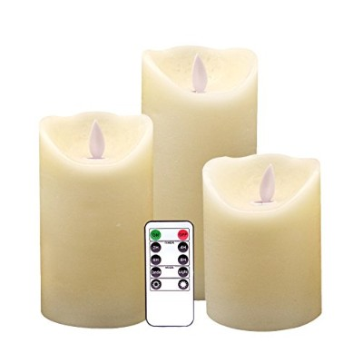 (Set of 3-smooth Finish) - Eldnacele Flickering Flameless Candles with Timer Remote Control 4 5...
