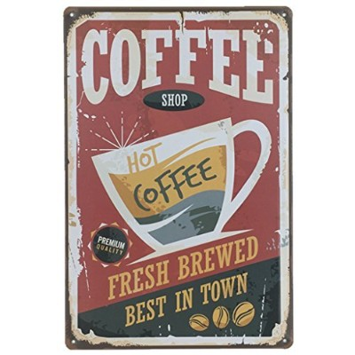 """aiyahooコーヒーSign Fresh Brewed Have A Cupレトロヴィンテージメタルサイン12"""" x 8"""""""