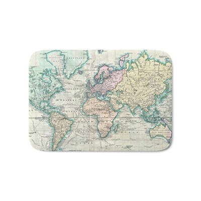 "society6ヴィンテージMap of the World ( 1801 )バスマット 17"" x 24"" s6-2224304p55a203v508"
