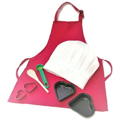 Valentines Baking Set For Kids Apron Chef Hat Heart Cutters