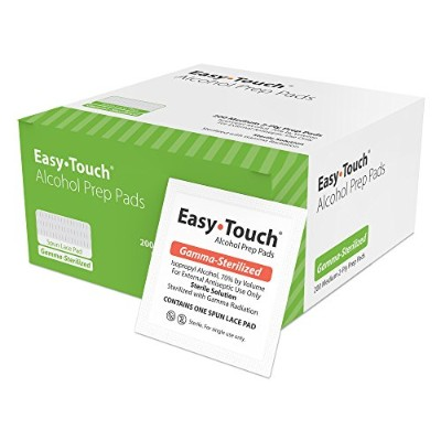 EasyTouch Alcohol Prep Pad, 200 Medium Count , 2-Ply pads by Easy Touch