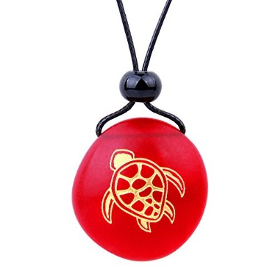 BestAmulets Amulet Frosted海ガラスストーンAdorable Magic Turtle Good Luck Powersロイヤルレッド調節可能なネックレス