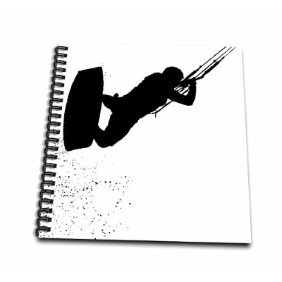 3dローズTaiche–ベクトル–カイトサーフィンウェイクボード–Up Up and Away Kiteboarderシルエット–Drawing Book 12x12 memory...