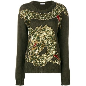 P.A.R.O.S.H. dragon sequin embroidered jumper - グリーン