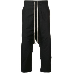 Rick Owens DRKSHDW cropped drop-crotch track pants - ブラック