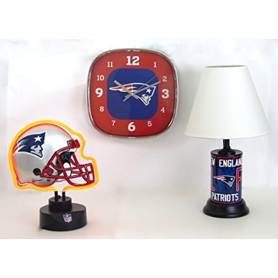 New England Patriots、ヘルメット形状ネオンランプデスクランプ、Walkクロックホームのコアコレクション。Outstanding Accents for Family...