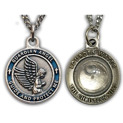 The Christianミント、LLC Guardian Angel Medal withカプセルのルルド水