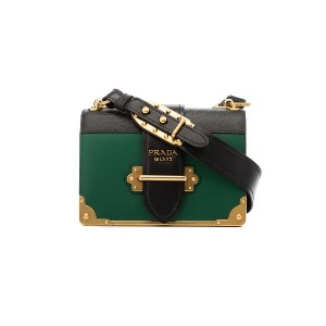 Prada green and black Cahier cross body leather bag - グリーン