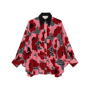 Gucci Poppies silk shirt with bow - ピンク